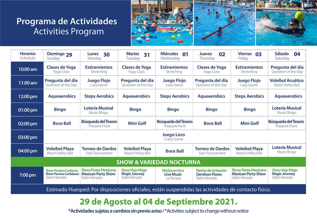 Programa de Actividades del 29 de Agosto al 4 de Septiembre Hotel Playa Mazatlán