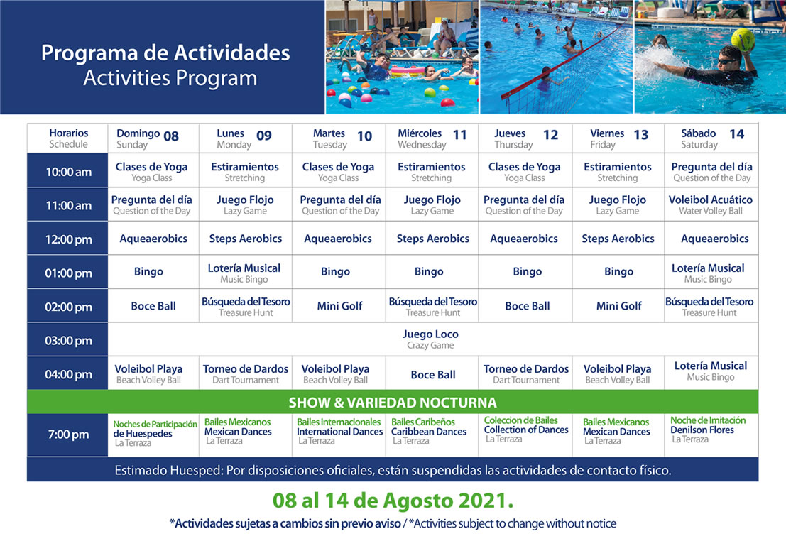 Programa de Actividades del 8-14 de Agosto 2021 Hotel Playa Mazatlán
