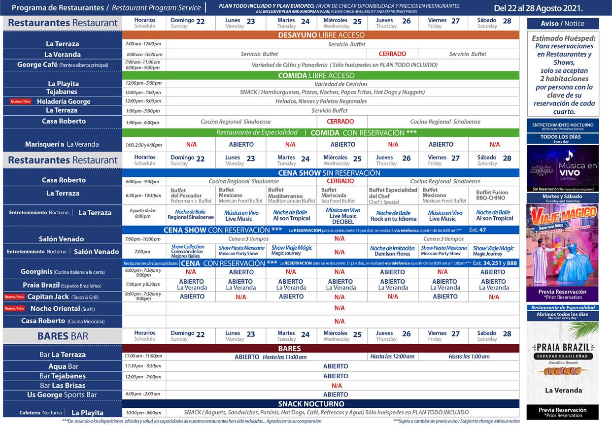 Programa de Restaurantes del 22-28 de Agosto 2021 Hotel Playa Mazatlán