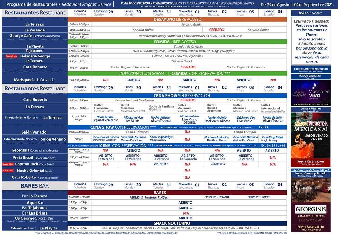 Programa de Restaurantes del 29 de Agosto al 4 de Septiembre Hotel Playa Mazatlán