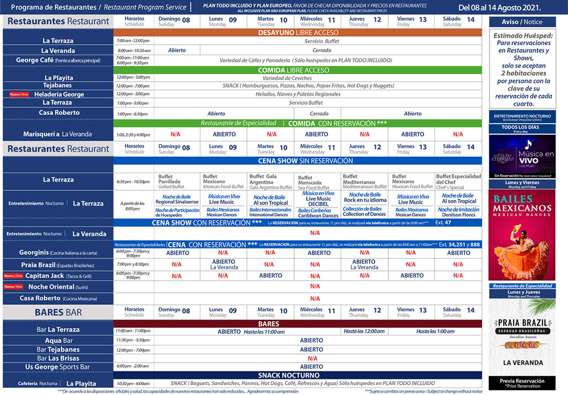 Programa de Restaurantes del 8-14 de Agosto 2021 Hotel Playa Mazatlán