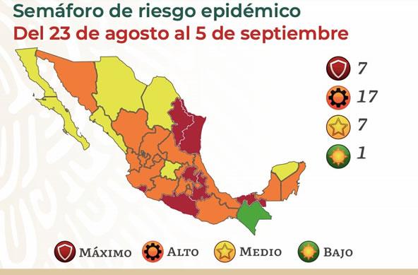 Semáforo de riesgo Epidemiológico COVID en México