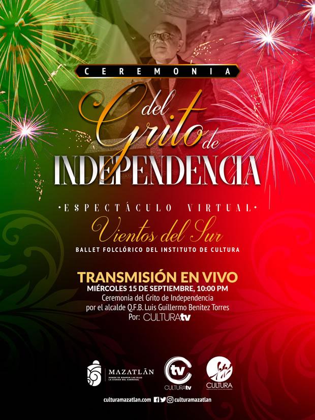 Ceremonia Virtual del Grito de Independencia Cultura Mazatlán