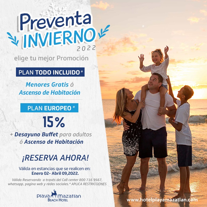 Preventa de Invierno 2022 Hotel Playa Mazatlán