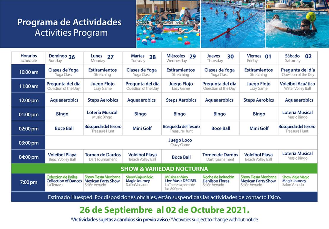 Programa de Actividades del 26 de Septiembre al 2 de Octubre Hotel Playa Mazatlán