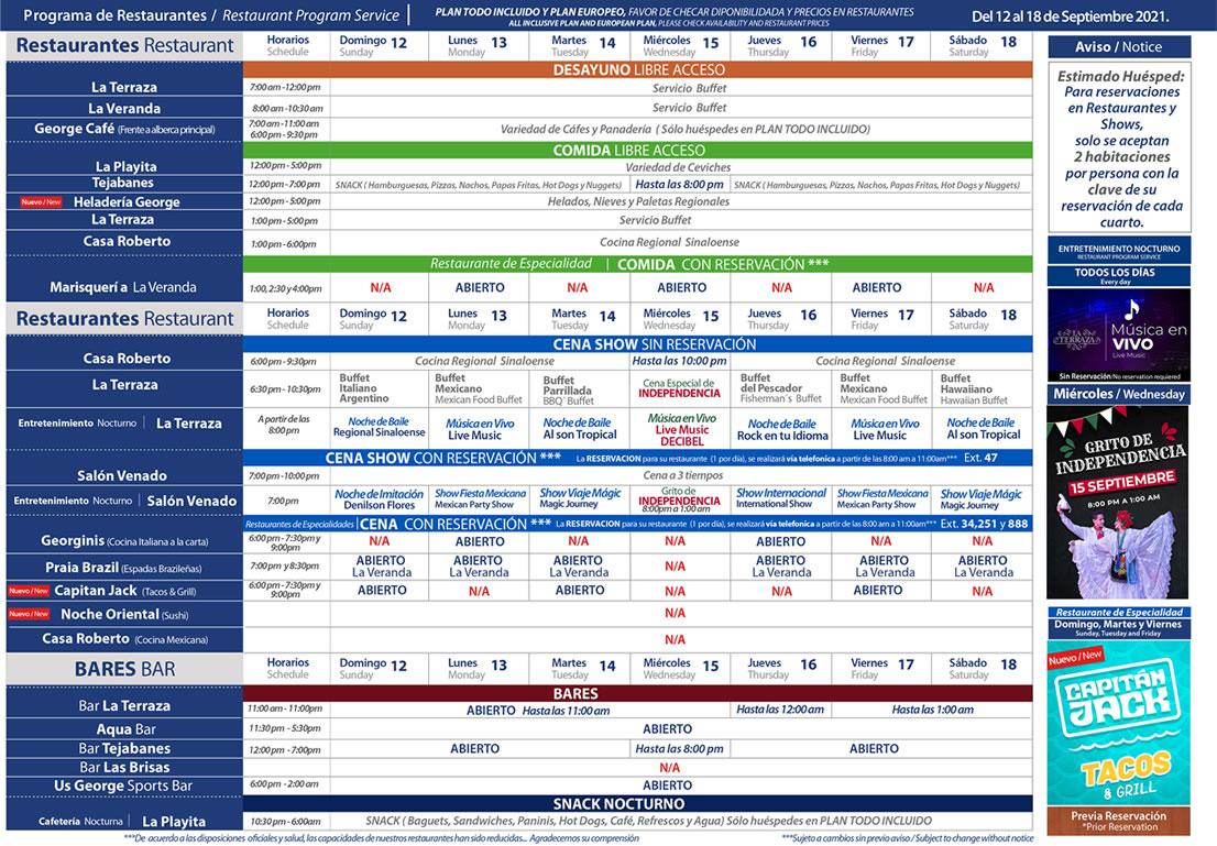Programa de Restaurantes del 12-18 de Septiembre Hotel Playa Mazatlán