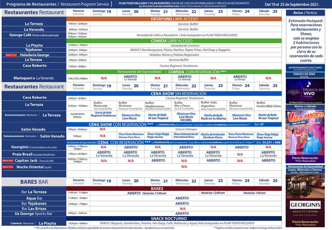 Programa de Restaurantes del 19-25 de Septiembre Hotel Playa Mazatlán