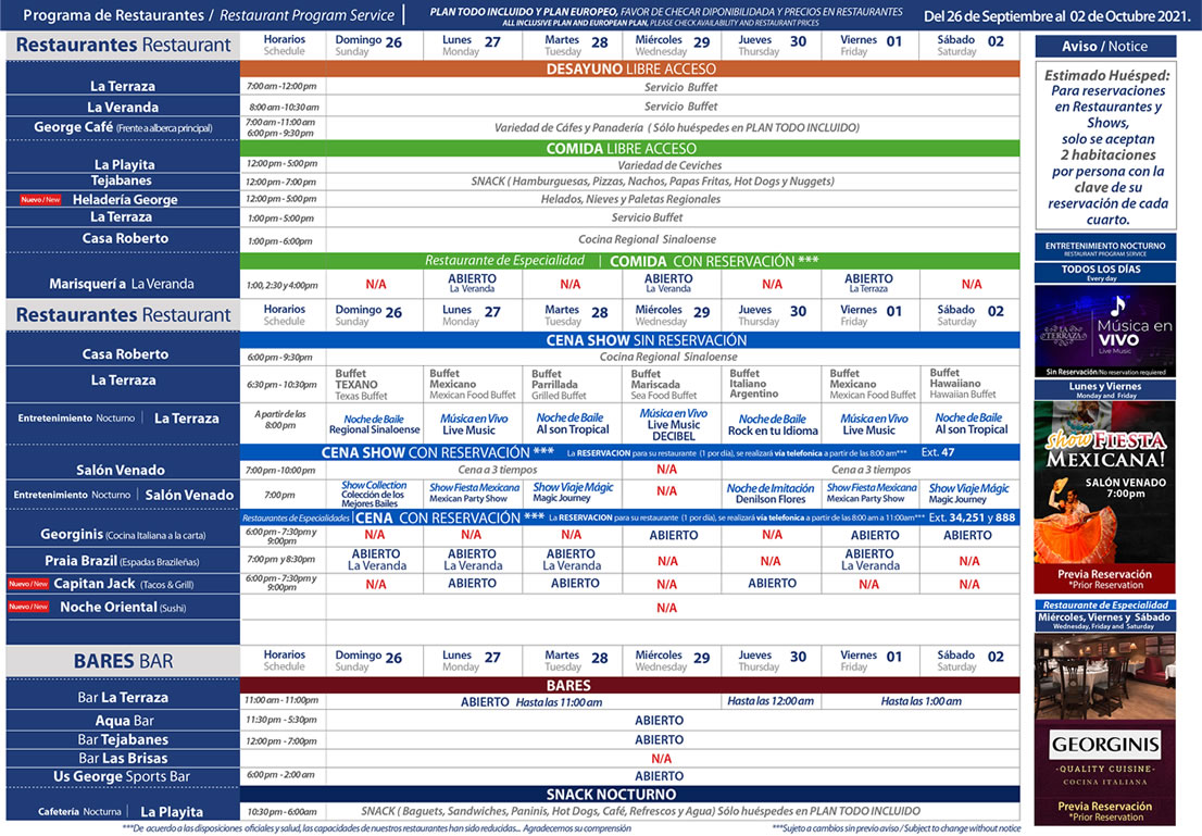 Programa de Restaurantes del 26 de Septiembre al 2 de Octubre Hotel Playa Mazatlán