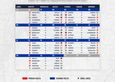 Rol de Juegos Mes de Diciembre Liga ARCO Mexicana del Pacífico