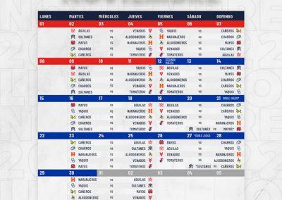 Rol de Juegos Mes de Noviembre Liga ARCO Mexicana del Pacífico