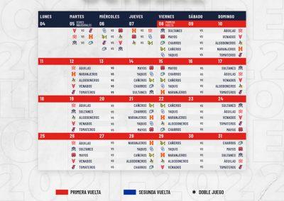 Rol de Juegos Mes de Octubre Liga ARCO Mexicana del Pacífico