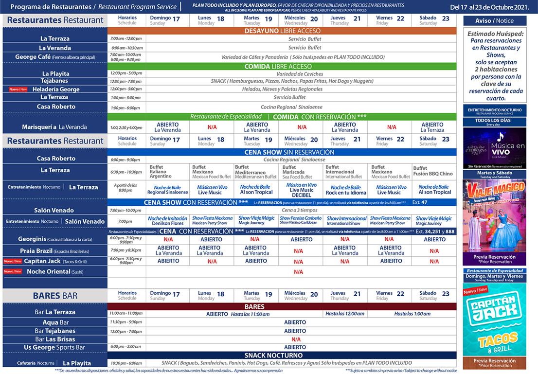 Programa de Restaurantes del 17-23 de Octubre Hotel Playa Mazatlán