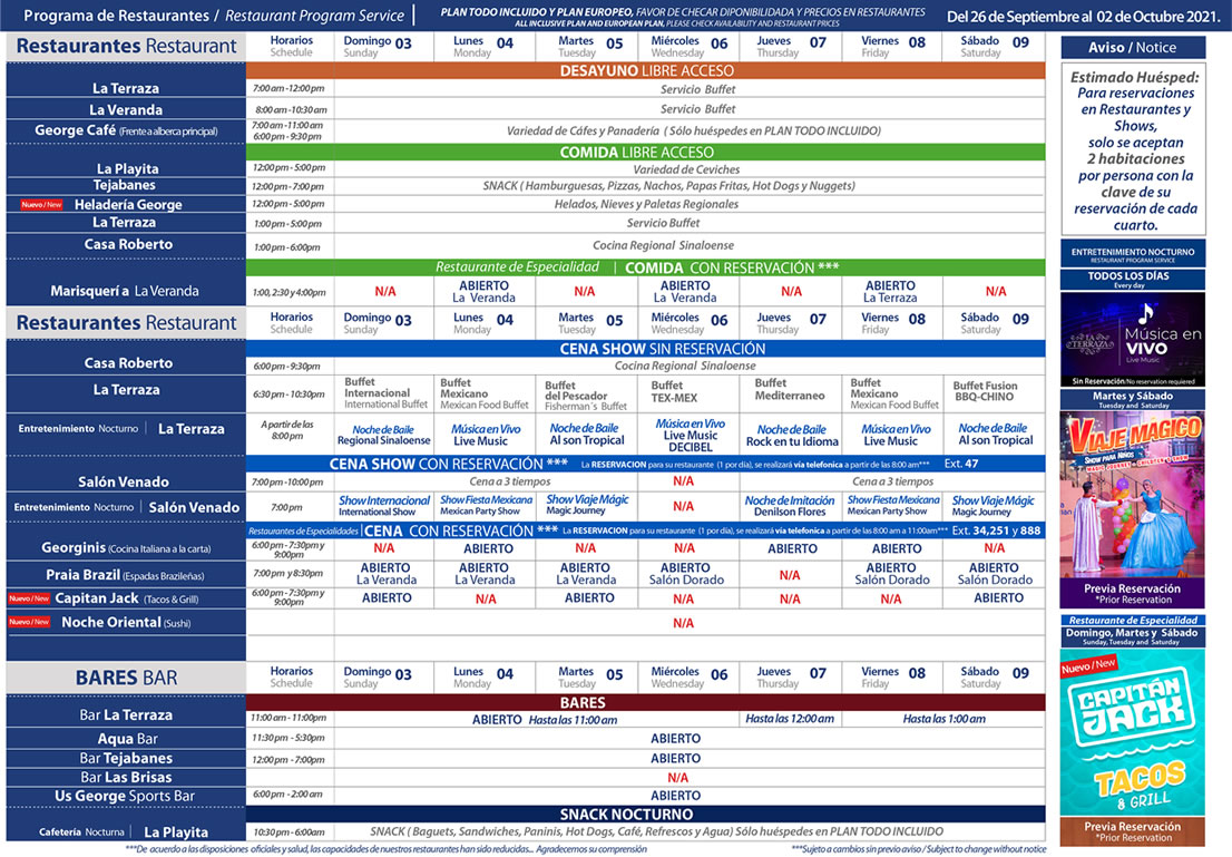 Programa de Restaurantes del 3-9 de Octubre Hotel Playa Mazatlán